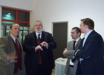 Da sinistra: Il rettore Cesare Emanuel, Fabrizio Palenzona, Massimo Berutti e Mario Galvani