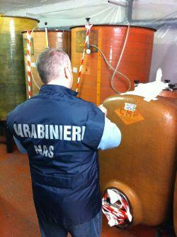 Un carabiniere dei Nas all'interno dell'azienda agricola Tortonese