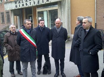 Un momento della conferenza stampa a Tortona