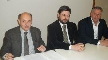Un momento della conferenza stampa con Piercarlo Fabbio, Mario Bocchio e Michele Formagnana