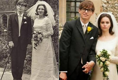A sinistra il fisico e sua moglie, a destra i due attori che li interpretano, la somiglianza è straordinaria