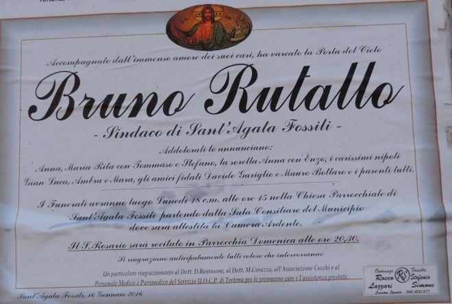 E' morto il sindaco di Sant'Agata Fossili Bruno Rutallo