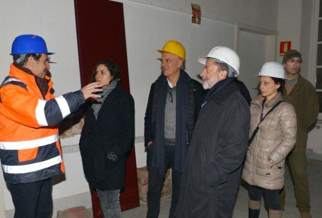 """Claudio Bisio visita il  cantiere del teatro """"Marenco"""" a Novi Ligure"""
