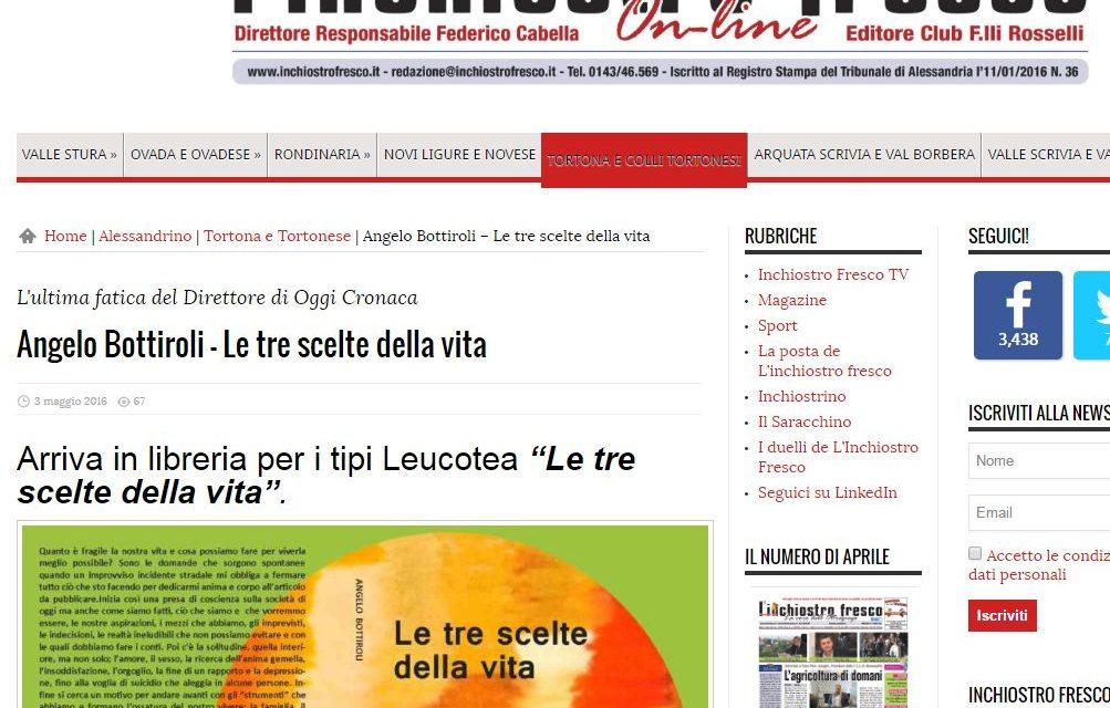 """Anche """"Inchiostro fresco"""" di Novi Ligure parla del libro """"Le tre scelte della vita"""""""