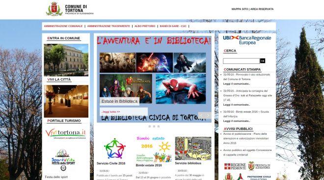 Nuovo sito internet per il Comune di Tortona