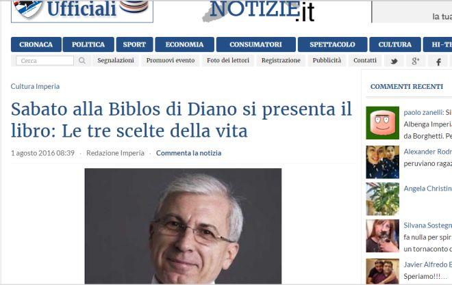 """Il libro """"Le tre scelte della vita"""" su Riviera press e Liguria notizie.it"""