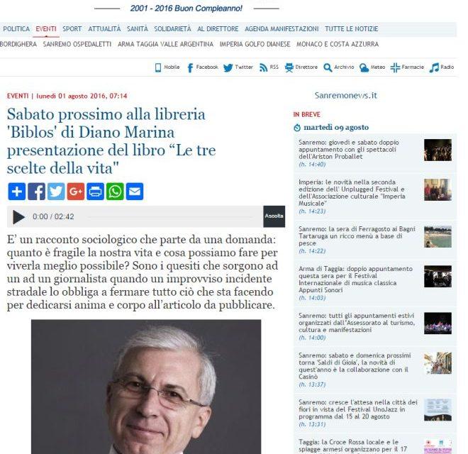 """Il libro """"Le tre scelte della vita"""" scritto dal nostro direttore  su Sanremo news"""