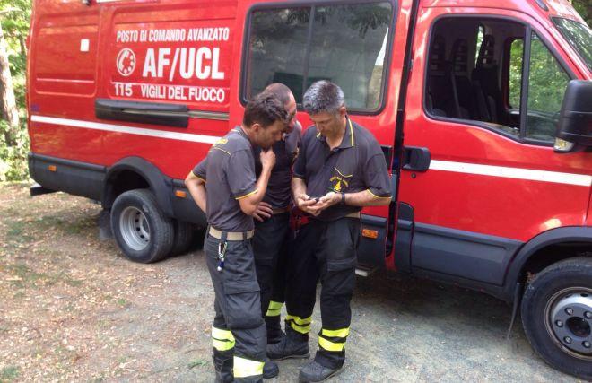 I Vigili del fuoco evitano che un pino crolli sull'Aurelia tra Bordighera e Ospedaletti
