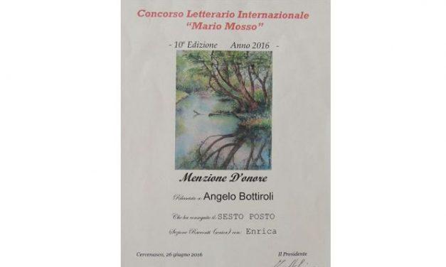"""Menzione d'onore per Angelo Bottiroli al concorso letterario internazionale """"Mario Mosso"""" per il racconto """"Enrica"""""""