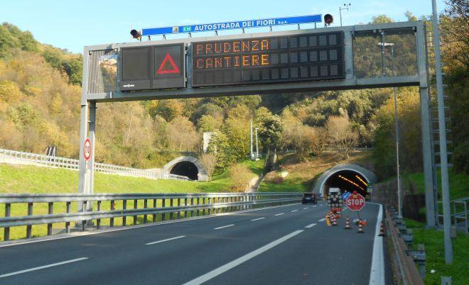 I Cantieri aperti sull'autostrada dei Fiori fino a domenica 9 ottobre