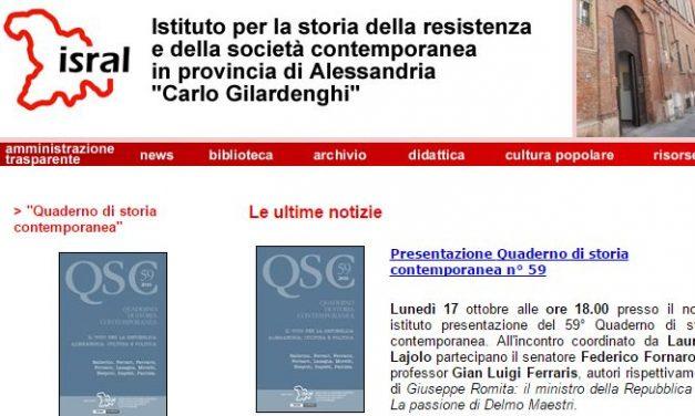 Giovedì a Casale Monferrato si presenta la rivista dell'Isral