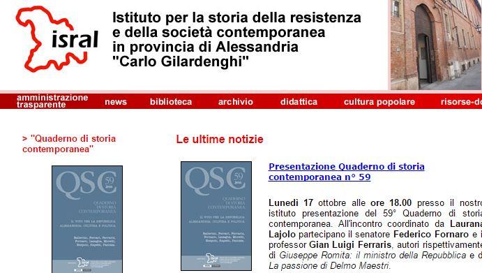 All'Isral di Alessandria si presenta il Quaderno di storia contemporanea