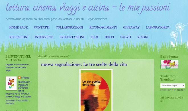 """Il libro """"Le tre scelte della vita"""" recensito sul blog """"Lepassionidiste"""" dalla Puglia"""