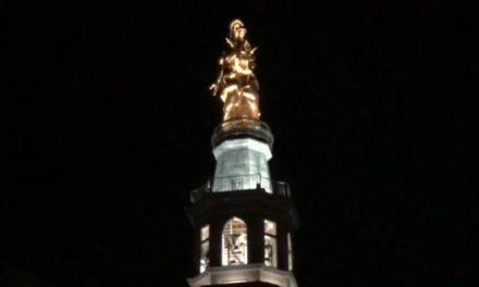 E' tornata a splendere la statua della Madonna della Guardia di Tortona