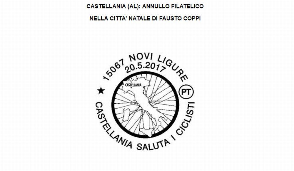 A Castellania un annullo filatelico in occasione della partenza della 14esima tappa del Giro d'Italia