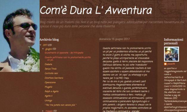 """Dianese malato di Sla, paralizzato a letto, da un mese posta la sua storia sul blog """"Com'è dura l'avventura"""""""