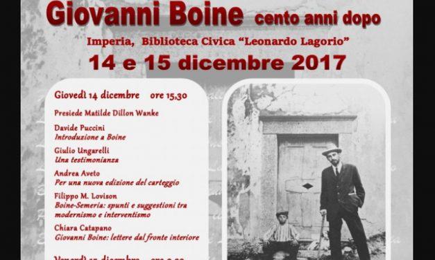 Giovedì a Imperia le manifestazioni per il  centenario della morte di Giovanni Boine