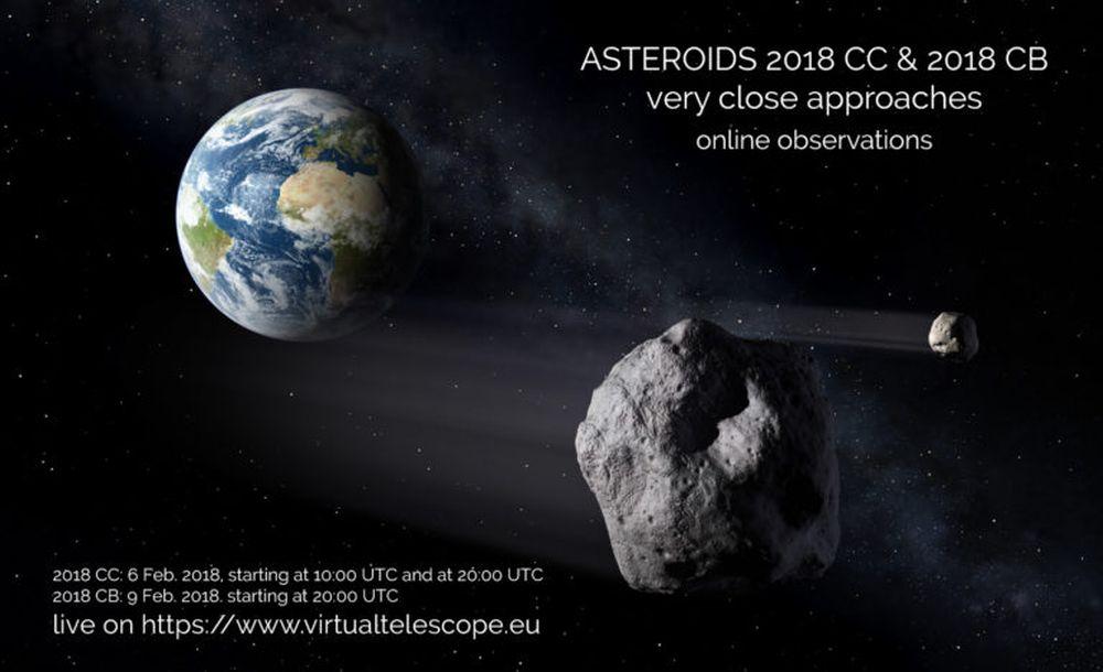 Due asteroidi sfiorano da vicino la Terra, il Virtual Telescope ve li mostra in diretta