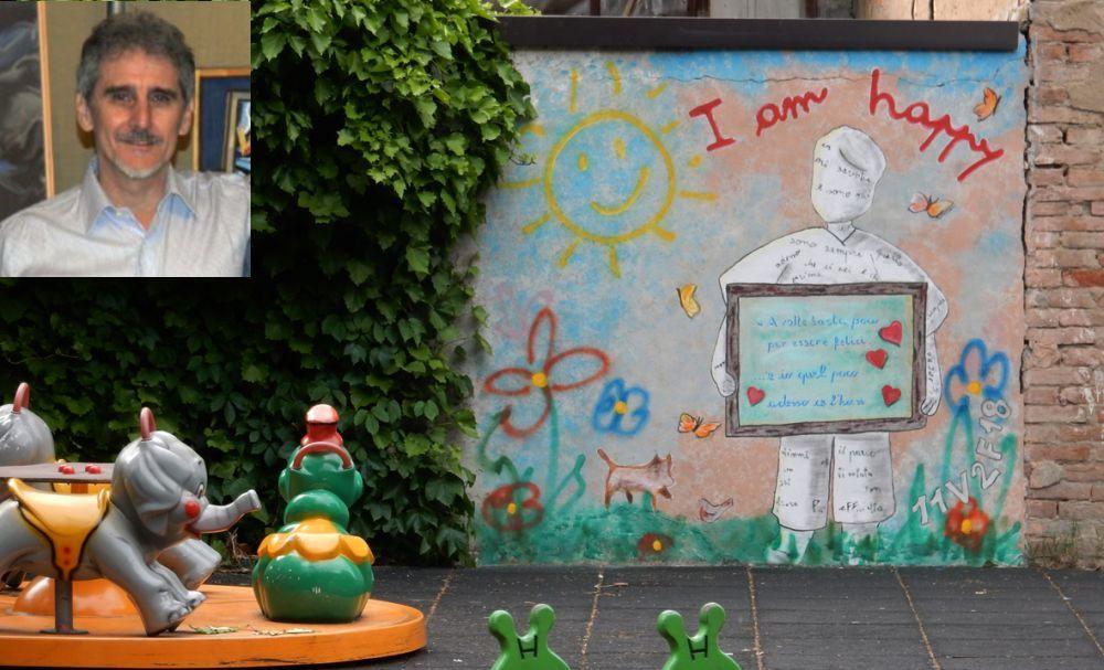 Fabrizio Falchetto, con moglie e figlia, regala a sue spese un bellissimo murales che abbellisce i giardini di Pontecurone. Le immagini