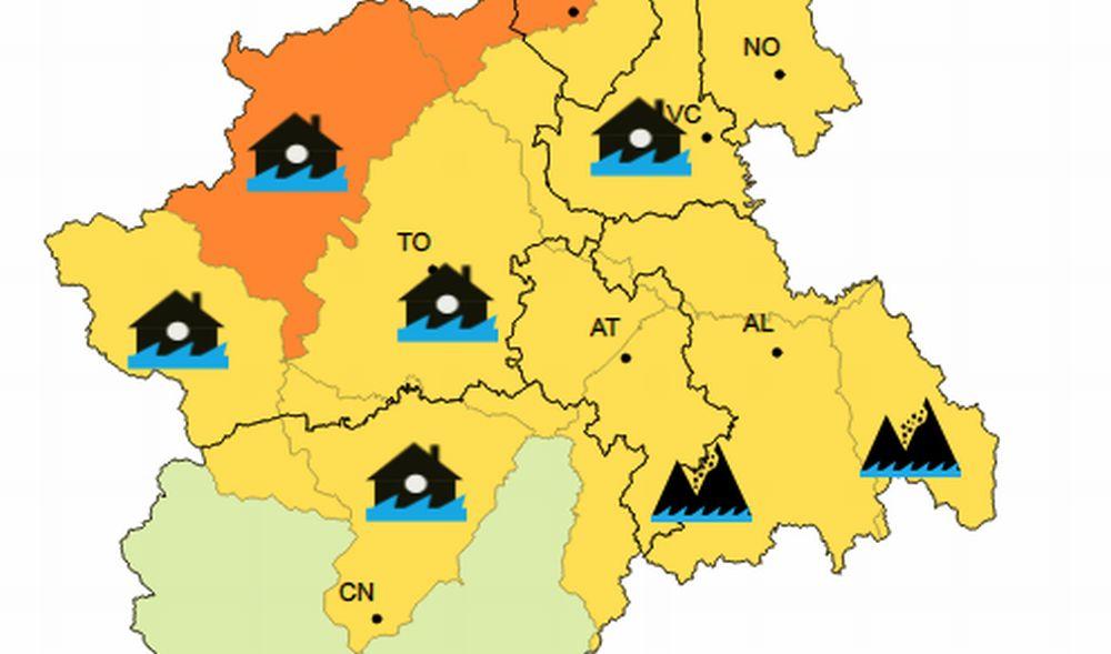 Allerta gialla piogge in provincia di Alessandria