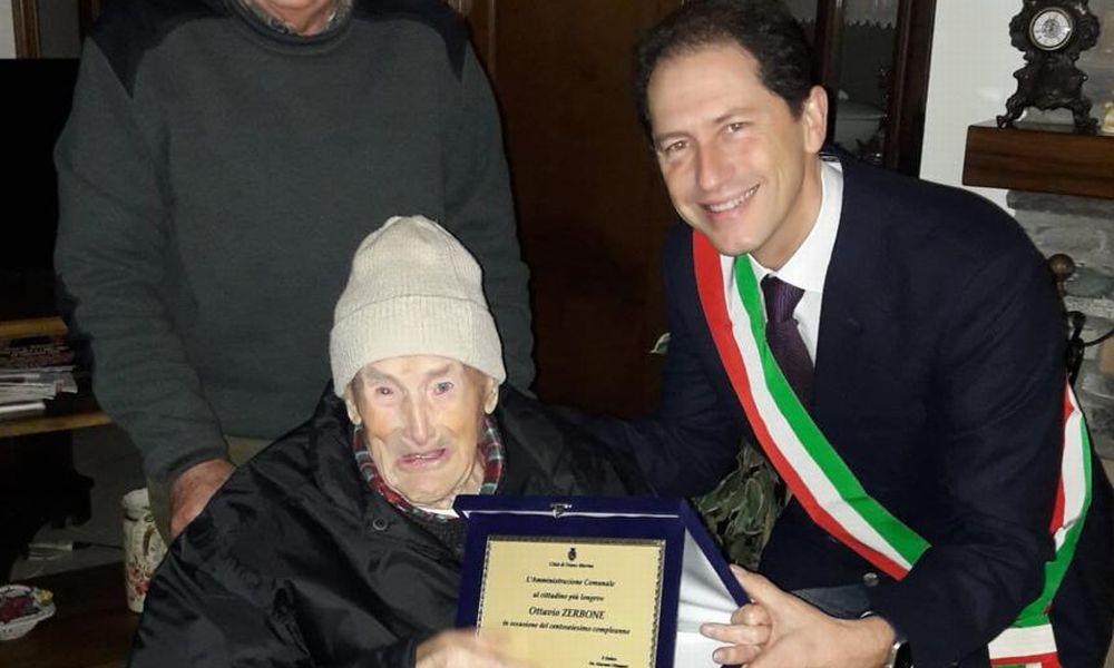 A Diano Marina una targa per i 106 anni di Ottavio Zerbone