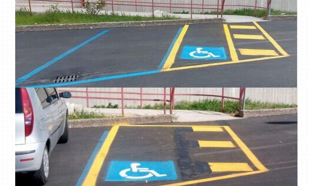 A Tortona sbagliano a tracciare le righe di un parcheggio e l'errore fa il giro del web. Poi corrono ai ripari