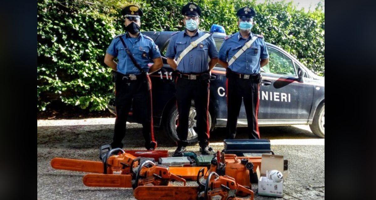 Le immagini dell'intervento dei Carabinieri di Volpedo per la vicenda delle motoseghe