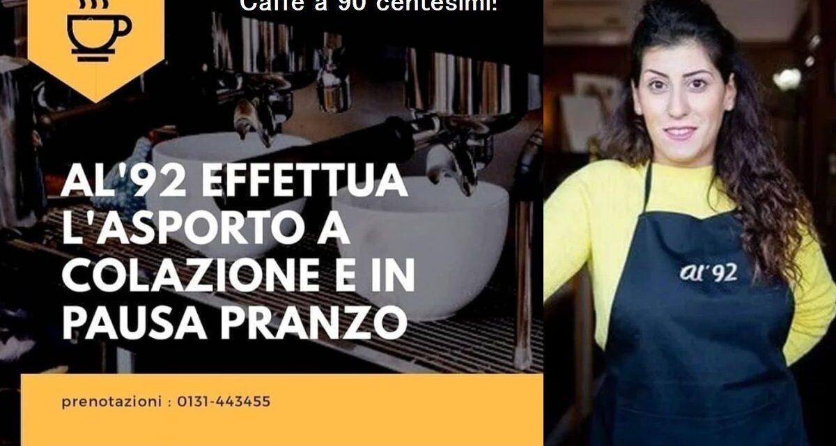 """Il bar Al'92 di Alessandria combatte la """"Zona Rossa"""" col caffé a 0,90 Euro, la colazione da asporto e…"""