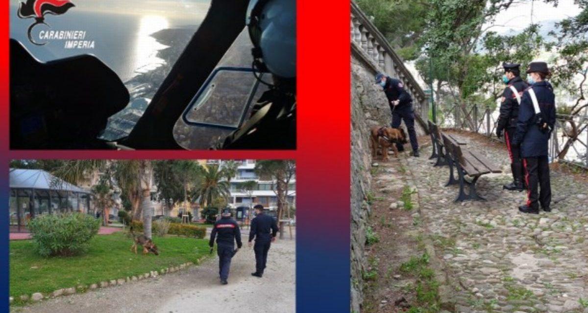 Carabinieri di Imperia, servizi straordinari con elicottero e cinofili. Due arresti.