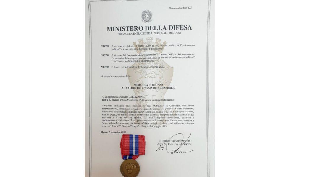 Medaglia al valore al Piercarlo Baldizzone, primo carabiniere imperiese ad averla