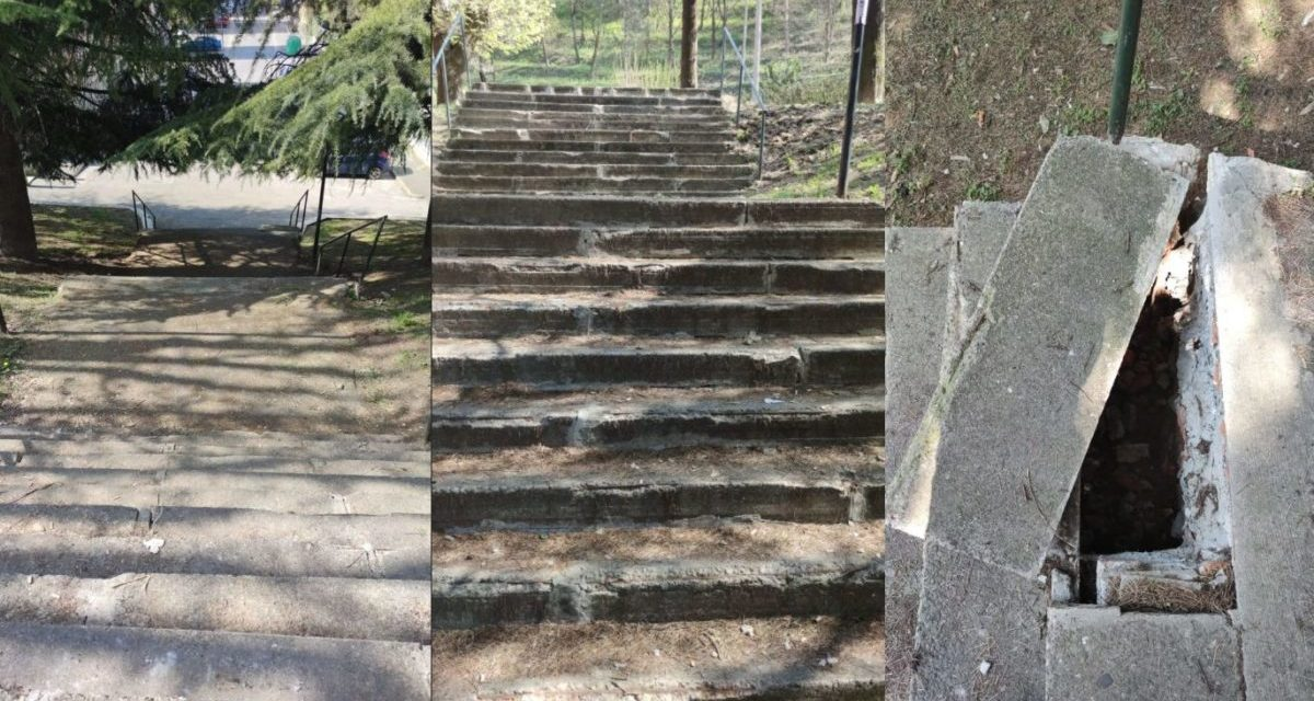 A Tortona la scalinata in via Rinarolo è letteralmente a pezzi, fate attenzione! Una donna è già caduta