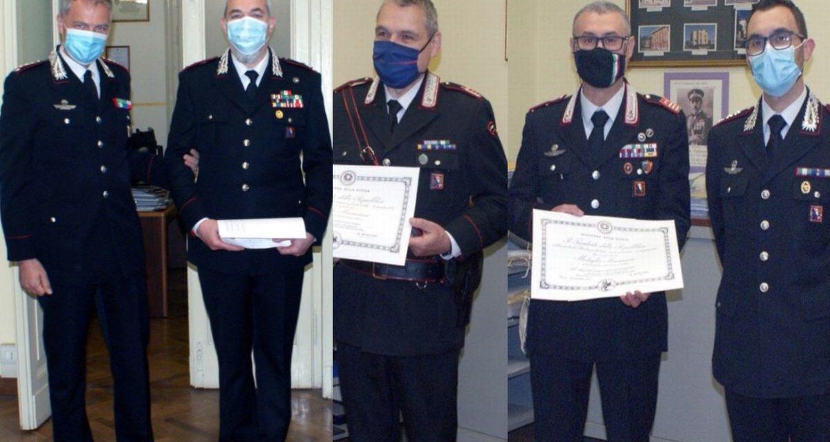 Tre Carabinieri di Tortona premiati: sono Graziano Del Rio, Andrea De Sorricellis e Gianmario Bellazzi