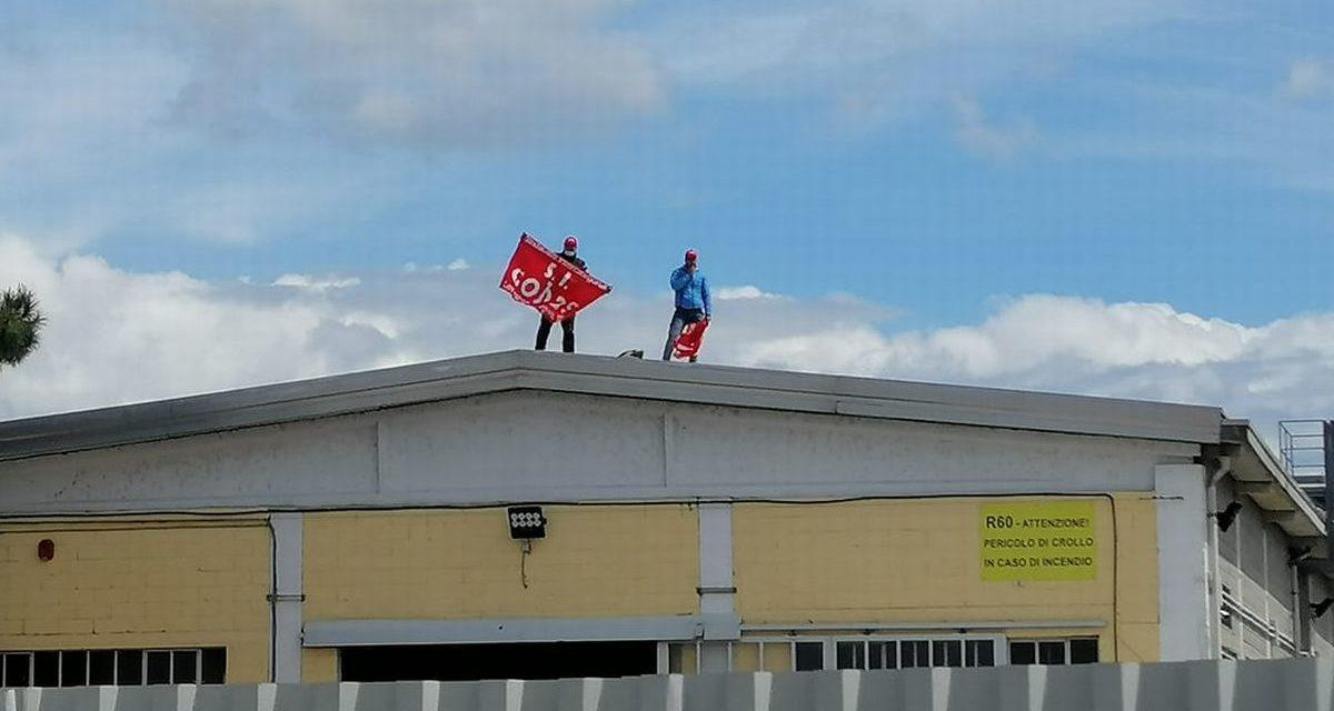 """Licenziati dalla """"Miliardo Yida"""" di Pontecurone vanno sul tetto della fabbrica per protesta"""