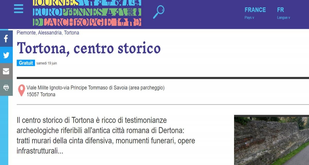 Le Giornate Europee dell'Archeologia di Tortona finiscono su un sito francese