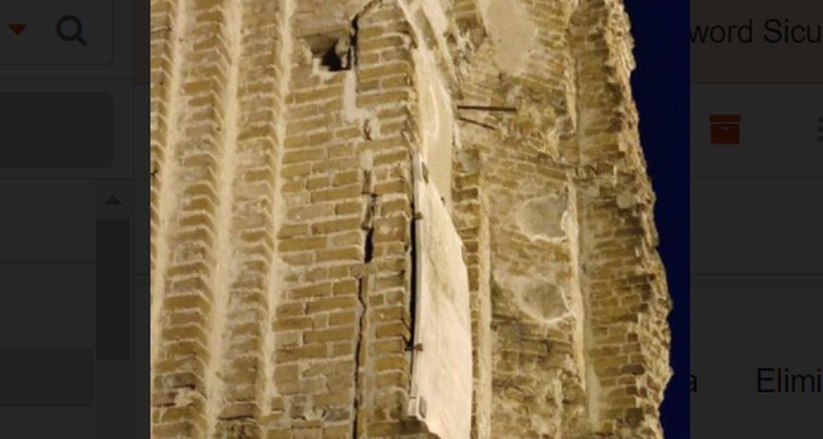 Pezzo pericolante alla Torre di Tortona, avvisato il Comune che interviene